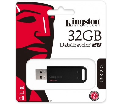 Kingston 32GB DT20/32GB Güvenilir ve Kapaksız USB 2.0 DataTraveler 20 DT20 / 32GB