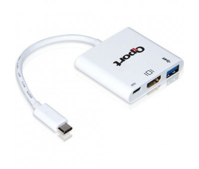 Qport Q-Th03 Type-C To HDMI 4K(3840*2160) +USB 3.0+Type-C (F) 4K Çevirici Converter