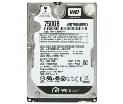 "WD Black 750GB 7200RPM Sata 3.0 16Mb 2,5"" WD7500BPKX Notebook Disk"