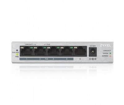 ZyXEL GS1005-HP, 5 Port Gigabit PoE+ 4 x PoE, 60 Watt Masaüstü Switch